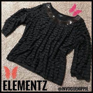 EUC Elementz 3/4 Sleeve Blouse Size XL